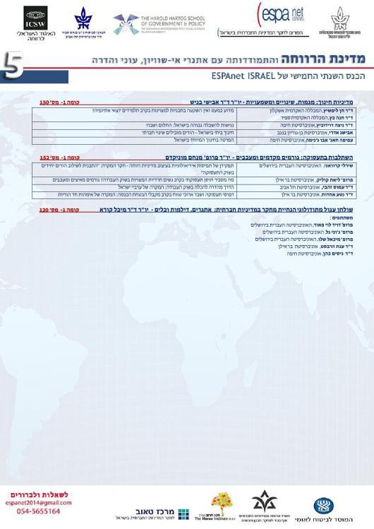 תוכנית הכנס המלאה ESPAnet2014_5